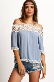 light blue off the shoulder top crochet lace trimmed off the shoulder top light blue rare collect