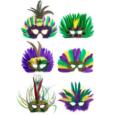 marti gras masks assorted mardi gras feather masks 6 mardigrasoutlet