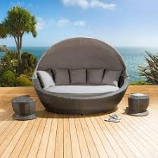 luxury oval garden daybed black rattan grey cushions canopy 2x
