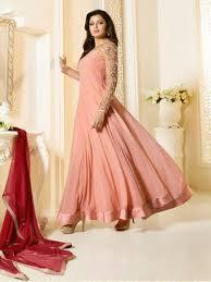 online peach color pakistani salwar kameez designer wear with jacket