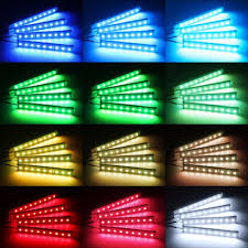 4pcs 12v car rgb led strip light 5050smd car remote control