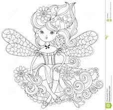 vector cute fairy in flowers doodle stock vector image