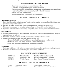 Warehouse Worker Skills For Resume Warehouse Resume Examples Lovely Warehouse Resume Sample 6