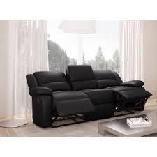 canapé relax 3 places cuir canapé relaxation 3 places simili cuir detente couleur noir