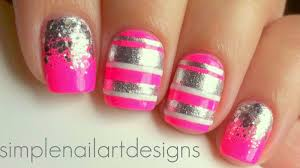 pink and silver stripes and glitter gradient nails youtube