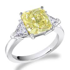 canary yellow engagement rings 1 carat canary yellow center radiant cut