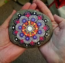 Original Home Decor Large Mandala Stone Painted Rock Colorful Dot Art Painting