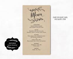 editable menu template printable wedding menu template kraft wedding menu simple and