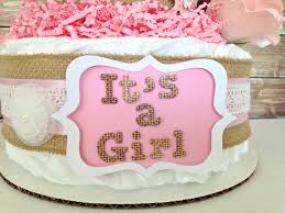 rustic vintage farm diaper cake shabby chic pink and burlap baby