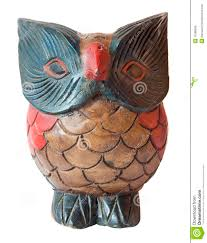owl ornament sculpture in painted wood stock photo image 11088566