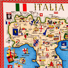map with attractions textile italy tea towel italian map and attractions made in