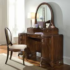 Wood Vanity Table Furniture Black Wooden Dressing Table With Framed Mirror
