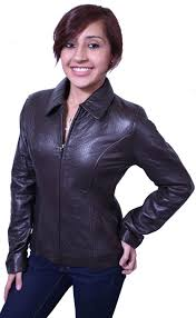 womens leather jacket genuine lamb leather brown zipper closure