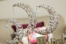 3 tiered crescent moon gold ivory eid decoration