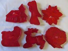 vintage red plastic christmas cookie cutters christmas toys