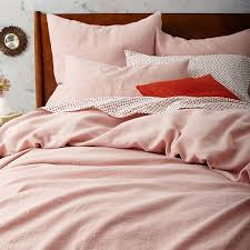 brilliant belgian flax linen duvet cover shams west elm blush pink