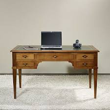 bureau stylé bureau ministre 5 tiroirs en merisier massif de style directoire