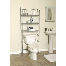 shelves over the toilet as the additional storage for bathroom