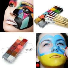 halloween face decals imagic 12 flash tattoo color 6pcs paint brush halloween face body