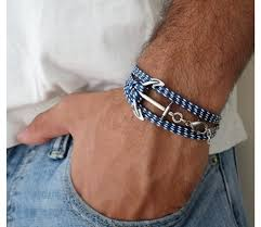 anchor jewelry bracelet images Man 39 s triple wrap blue and white fabric bracelet with anchor jpg