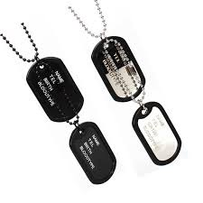Engraved Dog Tag Necklace Engraved Dog Tag Personalize Custom Message Unique Mens Military