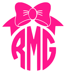 monogram car decal pretty bow circle monogram car decal stickie situations online