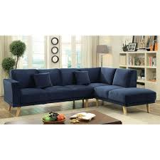 Navy Sectional Sofa Furniture Of America Rama Mid Century Modern Flannelette L Shaped