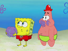 spongebob and patrick playing with a mysterious squishy ball found