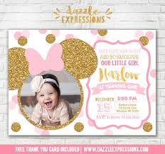 minnie mouse thank you cards printable pink and gold glitter minnie mouse inspired birthday