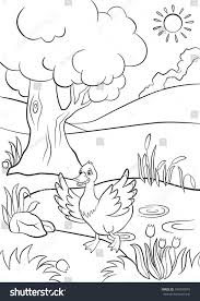 coloring pages cute duck runs pond stock vector 394950079