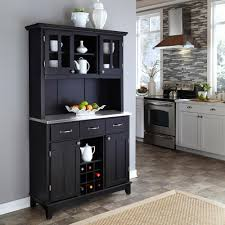 home styles black and stainless steel buffet with hutch 5100 0043