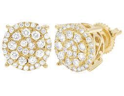 real diamond earrings unisex 10k yellow gold cluster halo real diamond stud