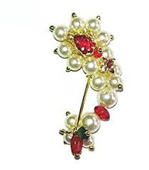 Buy Maharashtrian Traditional Nath Clip Buy Love Gold White Pearls Nath Clip On Type Big Size