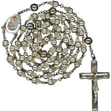 creed rosary scarce vintage creed sterling glass pearl wedding bell rosary