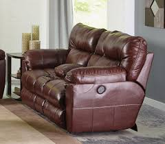 Power Recliner Loveseat With Console Catnapper Milan Power Lay Flat Reclining Console Loveseat Walnut