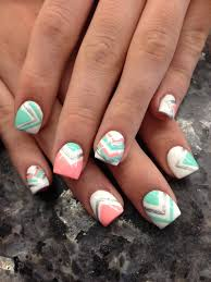 nail trend to try chevron nails sea nails pink turquoise and