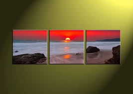 3 piece white ocean red sunset canvas wall art