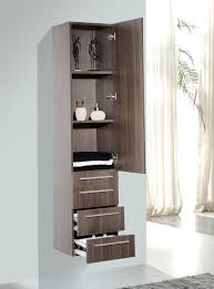 bathroom classical tower linen cabinet light walnut finish mdf