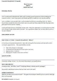 Receptionist Resume Template Receptionist Cv Sles Resume Cv Cover Letter