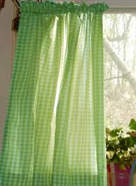 Lime Green Blackout Curtains Lime Green Gingham Kitchen Café Curtain Unlined Or With White Or