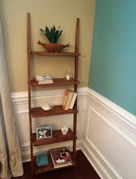 Leaning Ladder Shelf White Brown Wooden Five Shelves Leaning On The White Wall With Also
