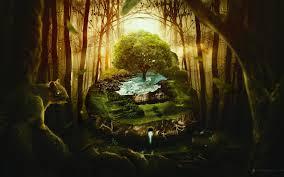 free download mystic green forest wildlife fantasy digital art