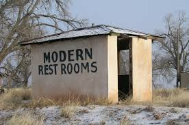 modern restrooms at a long closed motel in what was endee new