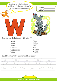 kids under 7 alphabet worksheets trace and print letter w