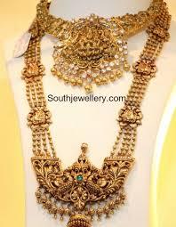 vintage long gold necklace images Peacock nakshi choker and long haram latest jpg