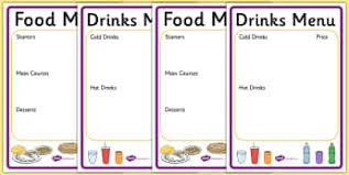 indian menu template writing templates menu early years eyfs page page 1