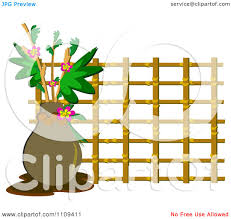 Clipart Vase Of Flowers Clipart Vase Of Flowers With Bamboo Lattice Royalty Free Vector