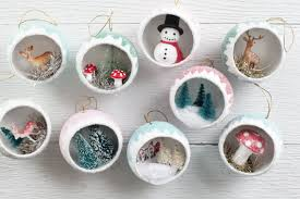 make retro diorama ornaments filled with miniatures vintage
