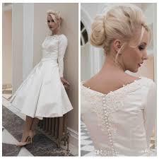 50 s wedding dresses vintage satin wedding dress sleeves tea length 50s