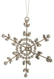 6 country rustic clear jeweled snowflake ornament